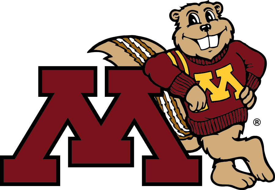 Goldy Gopher leaning against a block M