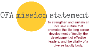 OFA mission statement positioned in front of a large yellow circle