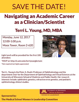 flyer with event details and Dr. Terri Young smiling at the camera